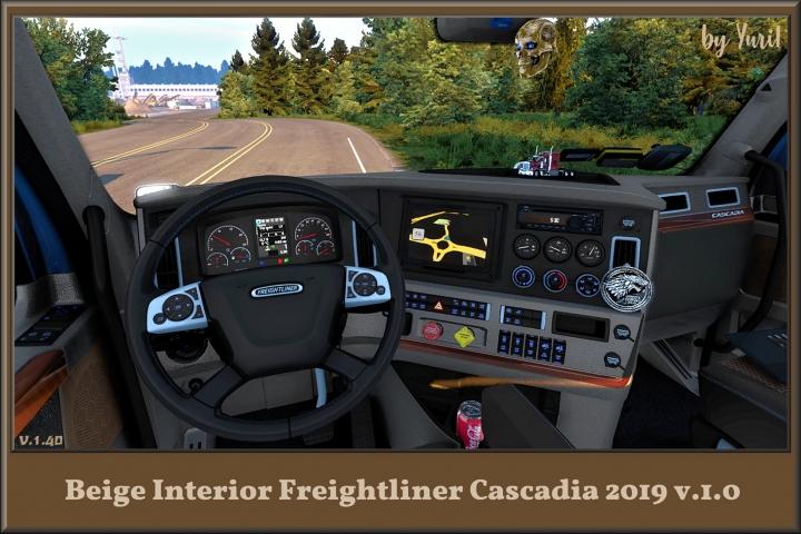 ATS - Beige Interior for Freightliner Cascadia 2019 V1.0 (1.40.x)