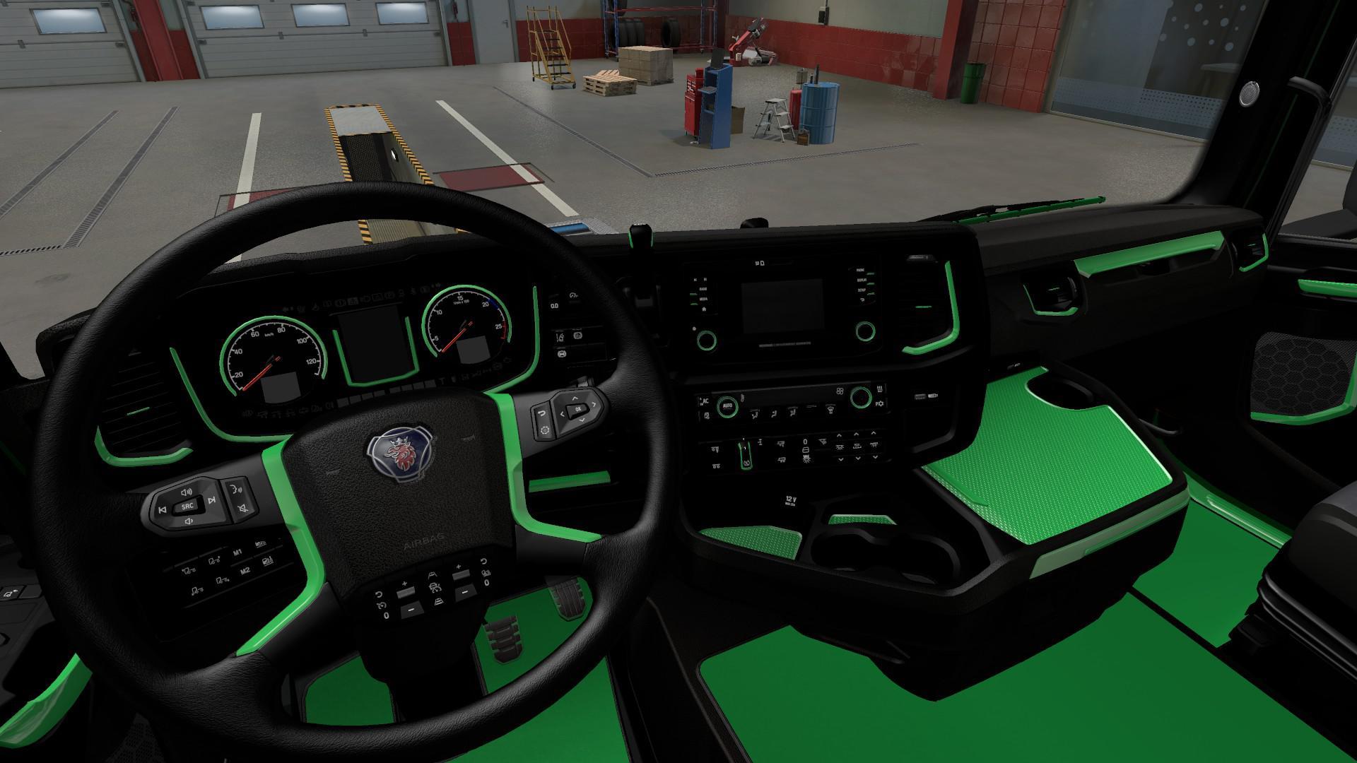 ETS2 - Green Interior for Scania 2016 V1.0 (1.40.x)