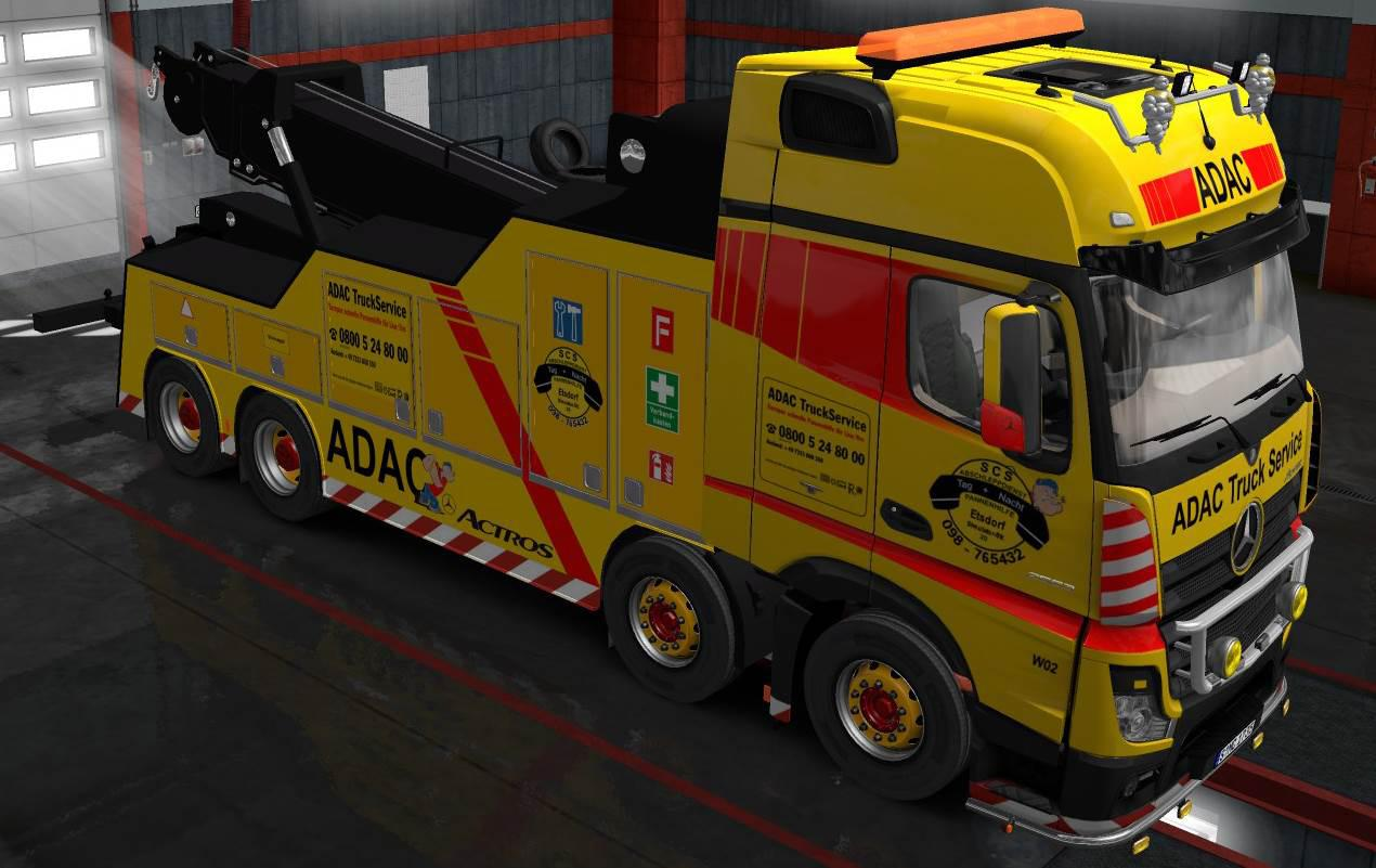ETS2 - Mercedes Actros MP4 Crane Truck + Trailer Load Pack + Skin (1.35.x)