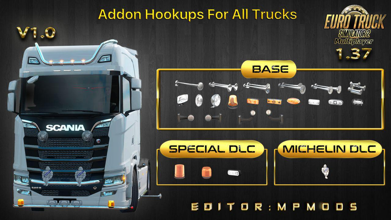 ETS2 - Addon Hookups for All Trucks V1 for Multiplayer (1.37.x)