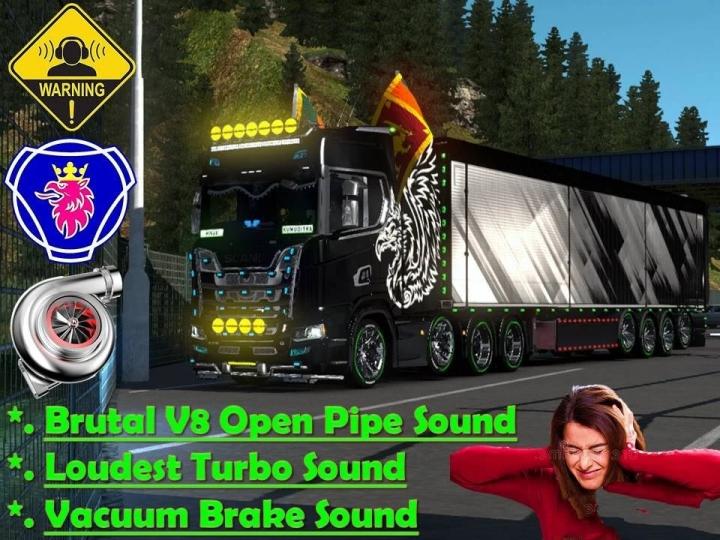 ETS2 - V8 Open Pipe Brutal Sound Mod V1.0 (1.40.x)