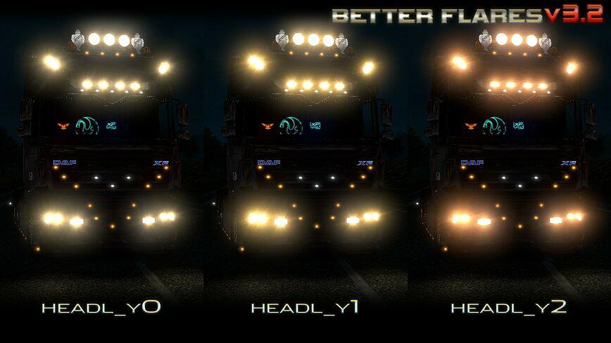 ETS2 - Better Flares Adapted V3.2 (1.35.X)