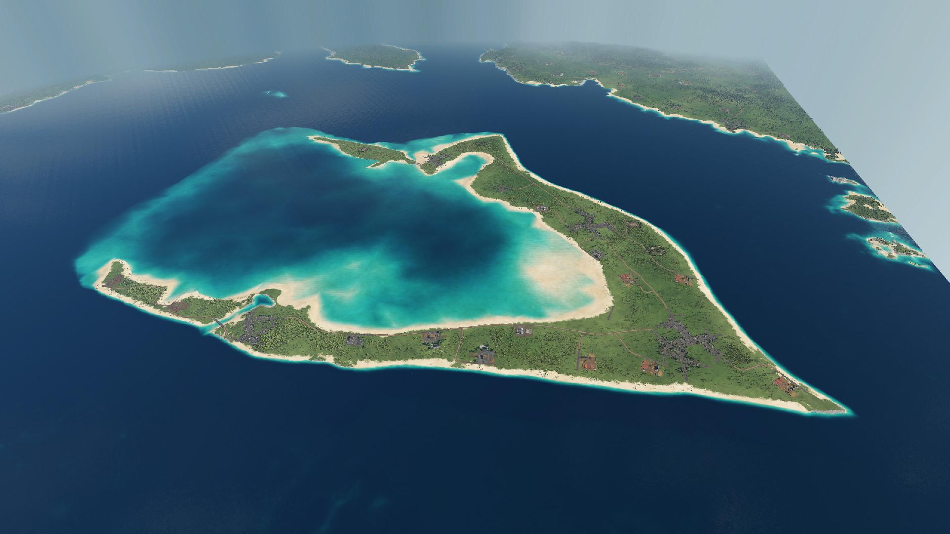 Transport Fever 2 - Wake Island with Surrounding Land Map