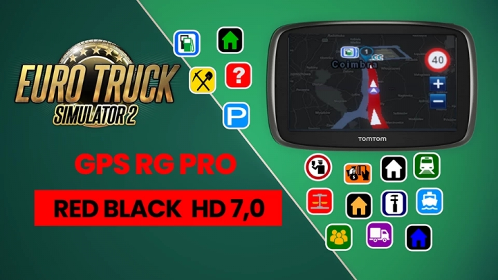 ETS2 - GPS RG Pro Red Black HD V7.0 (1.40.x)