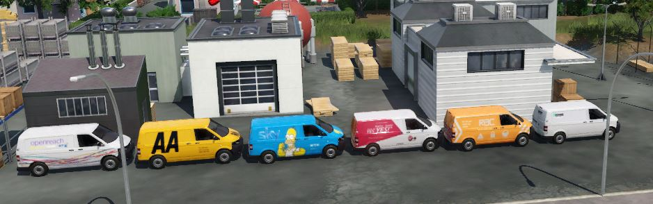 Transport Fever 2 - Volkswagen Transporter Reskins – BT, SKY, AA, RAC, Virgin Media and Enterprise