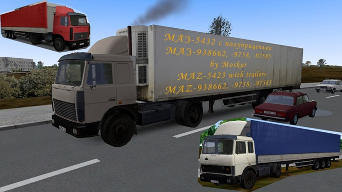 Omsi 2 – Maz-5432 With Semitrailers Maz-938662, 9758, 97585 for Traffic Mod