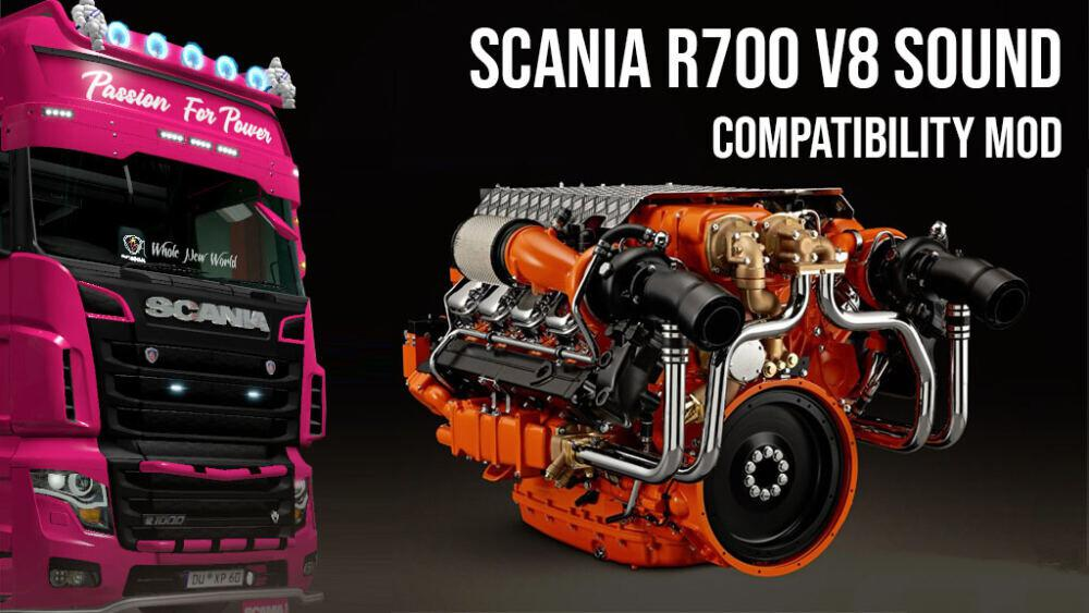 ETS2 - Scania R700 V8 Open Pipe Sound Compatibility (1.39.x)