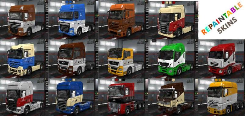 ETS2 - Wolf Repaintable Truck and Owned Trailers Skin V1.9 (1.37.x)