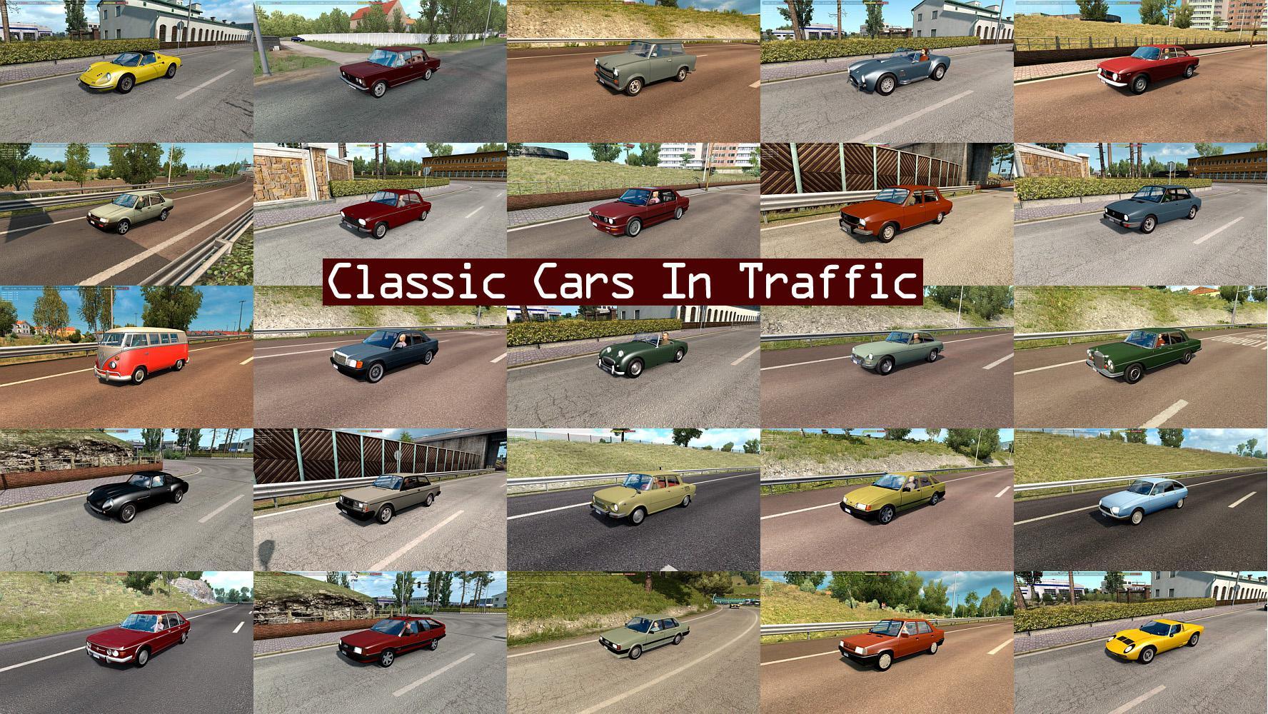 ETS2 - Classic Cars Traffic Pack V3.7 (1.35.X)