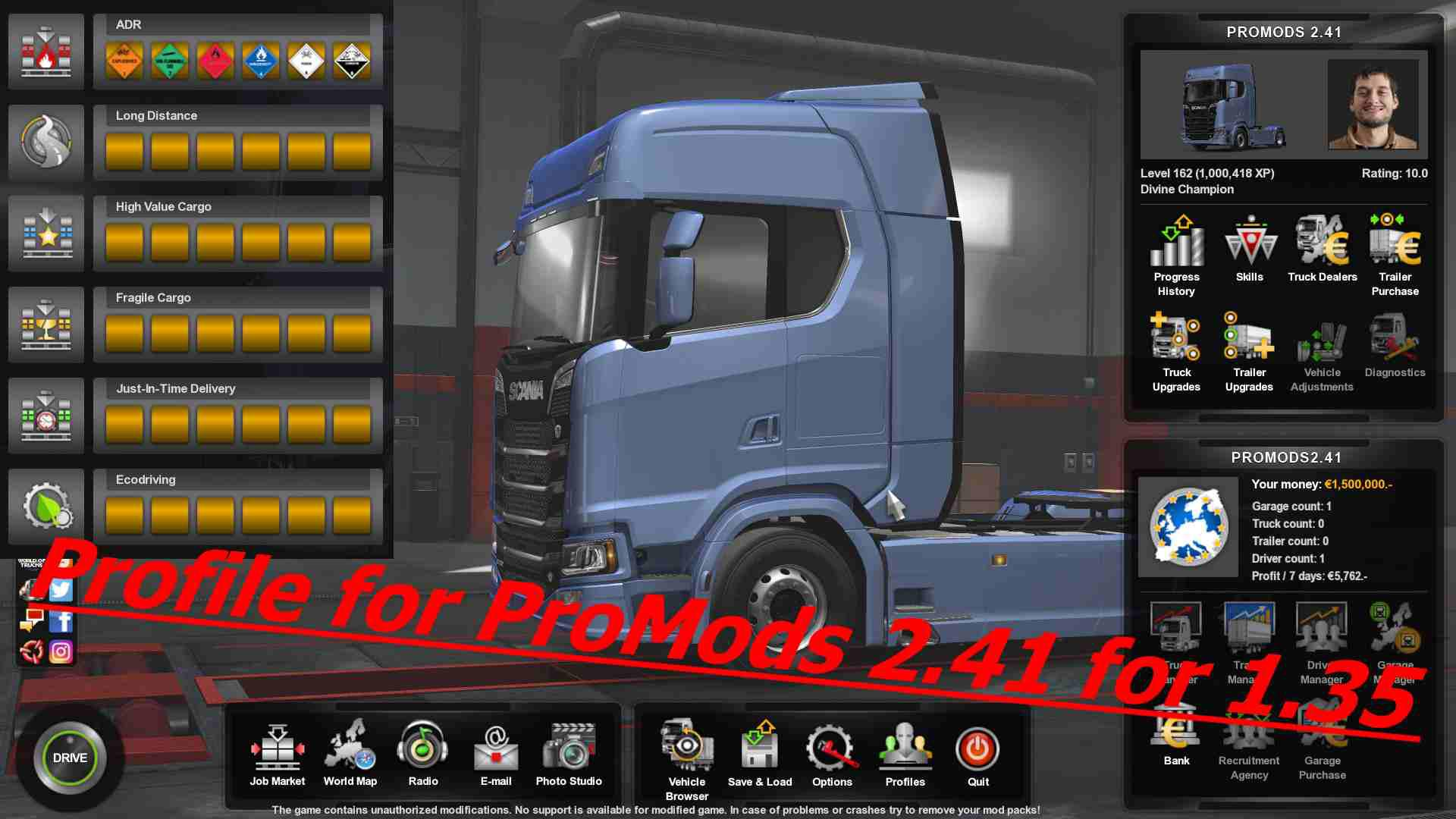 ETS2 - Profile for ProMods 2 41 (1 35 X) | Euro Truck