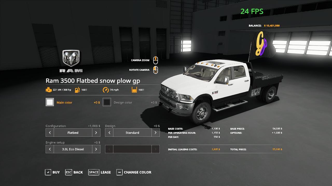 FS19 - Dodge Ram 3500 Snowplow GP Edition v1.0