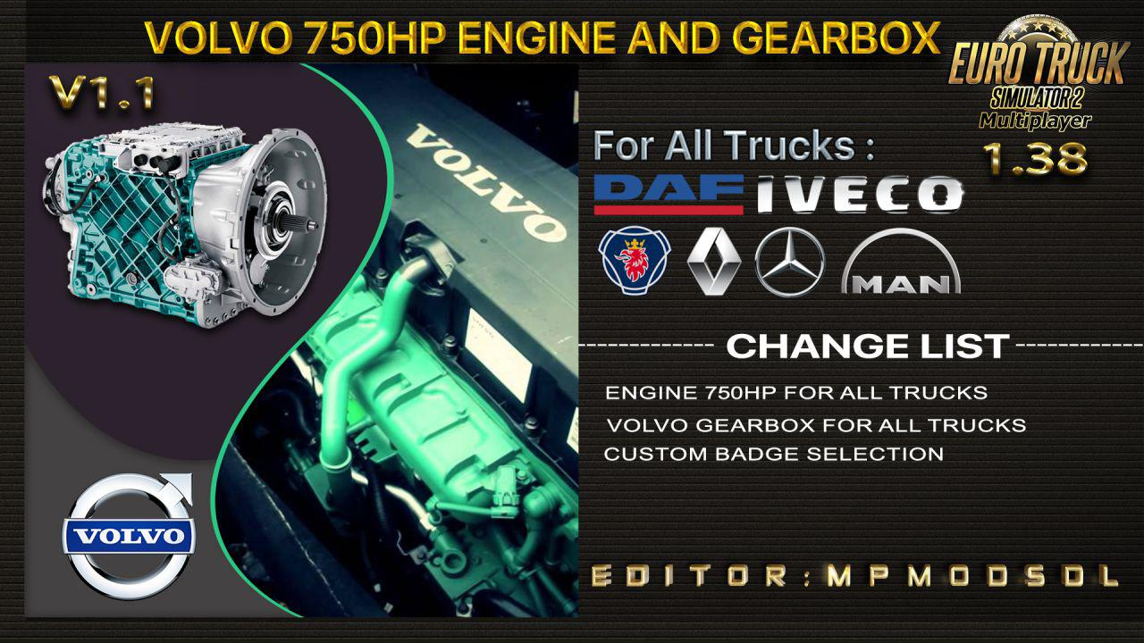 ETS2 - Volvo 750HP And Gearbox for All Trucks V1.1 (1.38.x)