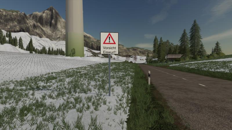 FS19 - Ice Throw Warning Sign V1.0