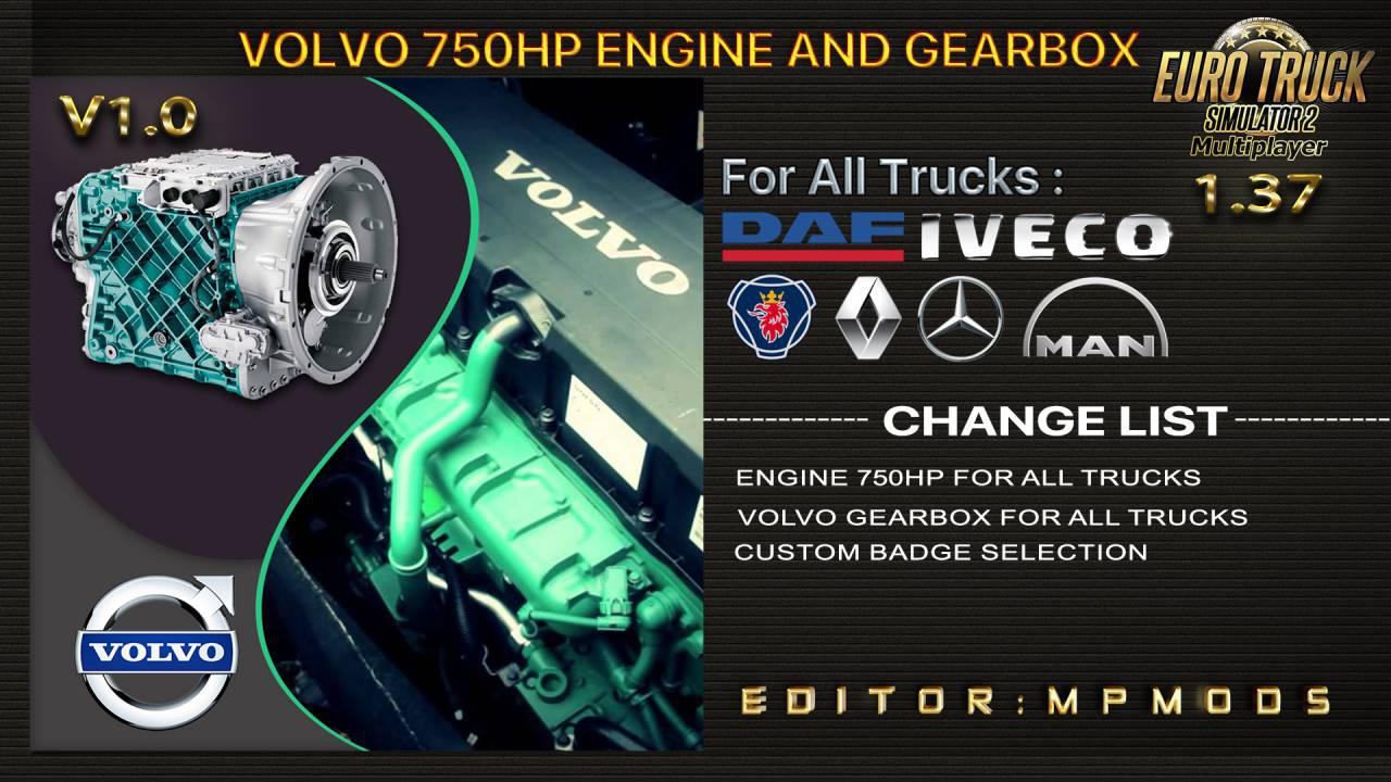 ETS2 - Volvo 750HP And Gearbox For All Trucks V1.0 (1.37.x)