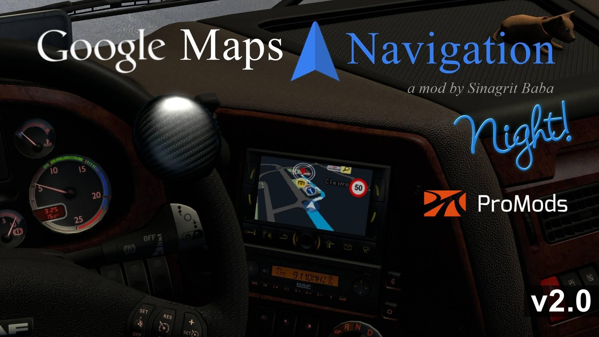 ETS2 - Google Maps Navigation Night Version for Promods V2.0 (1.35.X)
