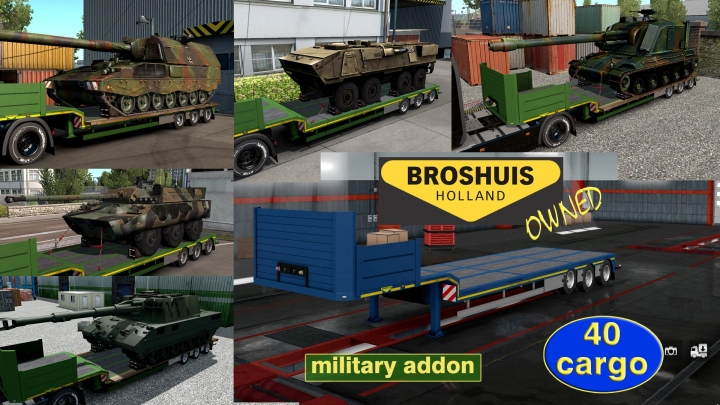 ETS2 - Military Addon for Ownable Trailer Broshuis V1.2.6 (1.41.x)