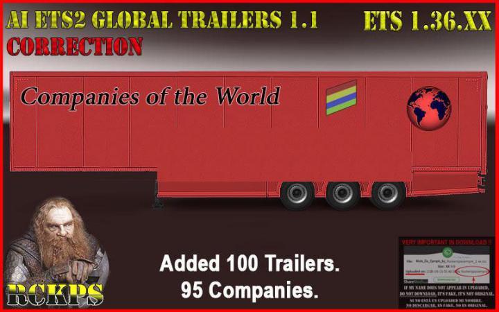 ETS2 - AI Global Trailers Rckps V1.1 Fix (1.36.x)