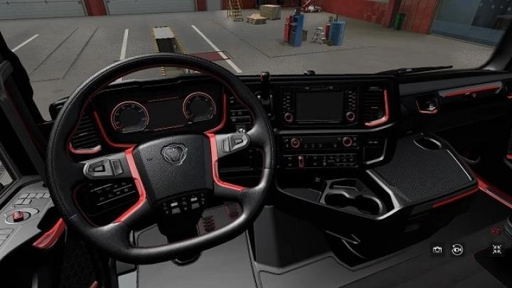 ETS2 - Scania R&S Red interior V1.0 (1.41.x)