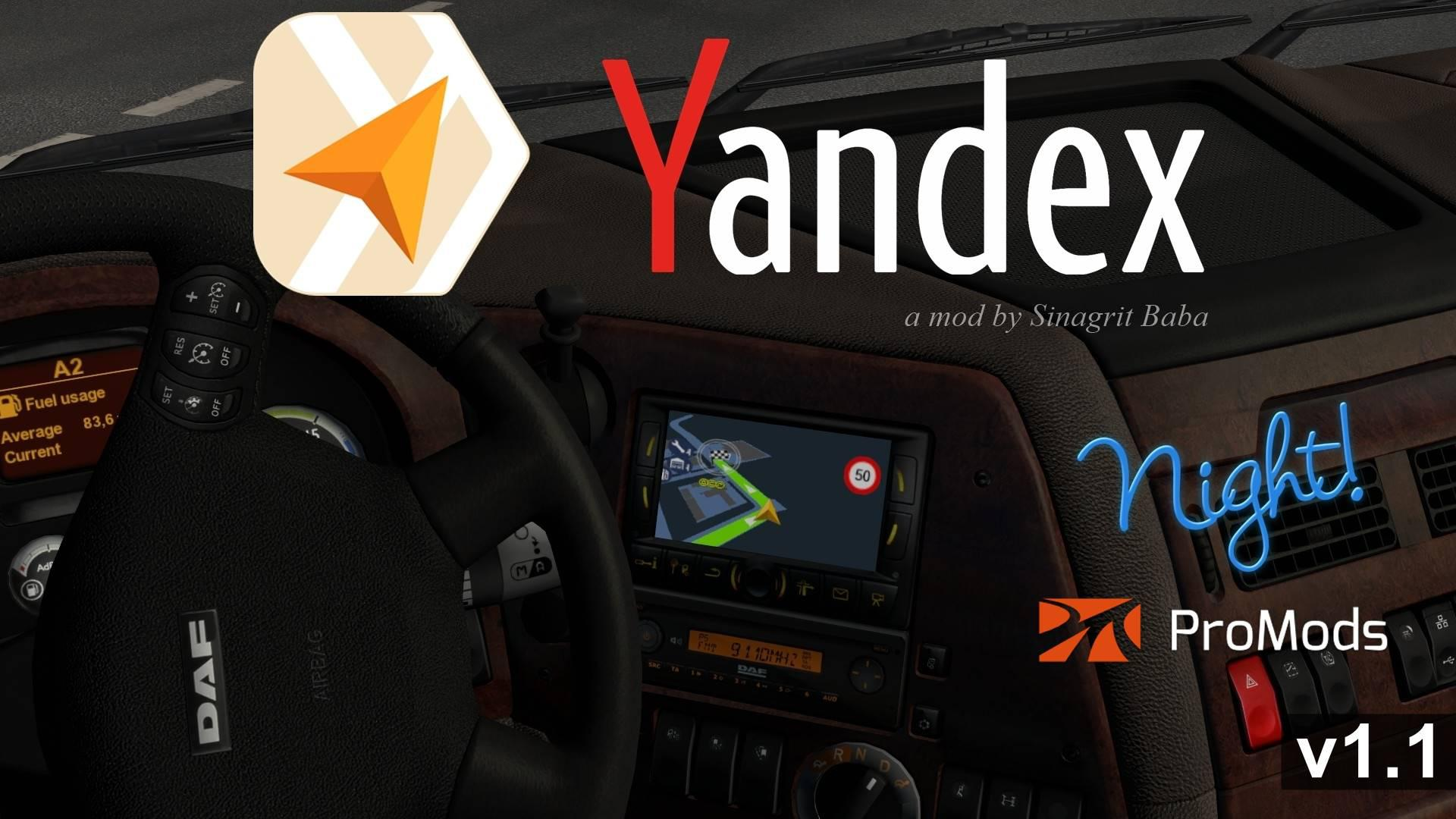 ETS2 - Yandex Navigator Night Version for Promods V1.1 (1.35.X)
