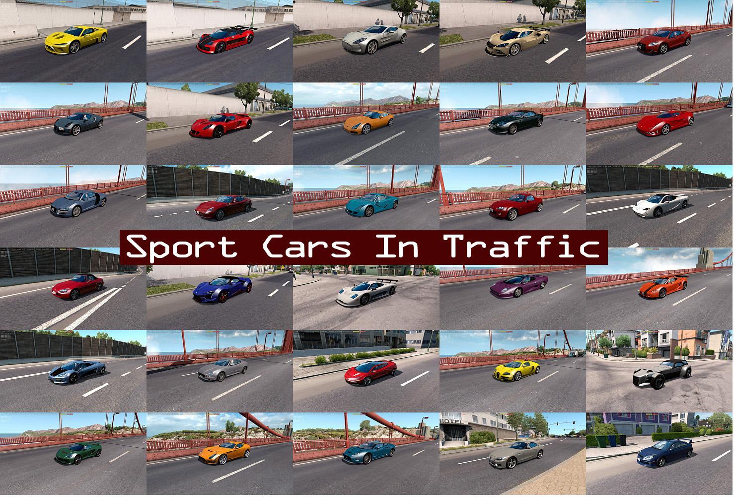 ATS - Sport Cars Traffic Pack V7.3 (1.38.x)