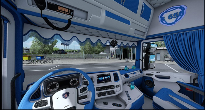 ETS2 - Scania S Blue And White Interior (1.36.x)