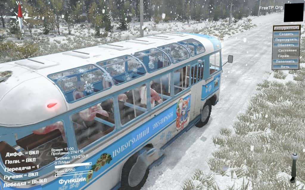 """Spintires - Paz-3201 Gypsy Car And """"New Years Fairy Tale"""" V1.0"""