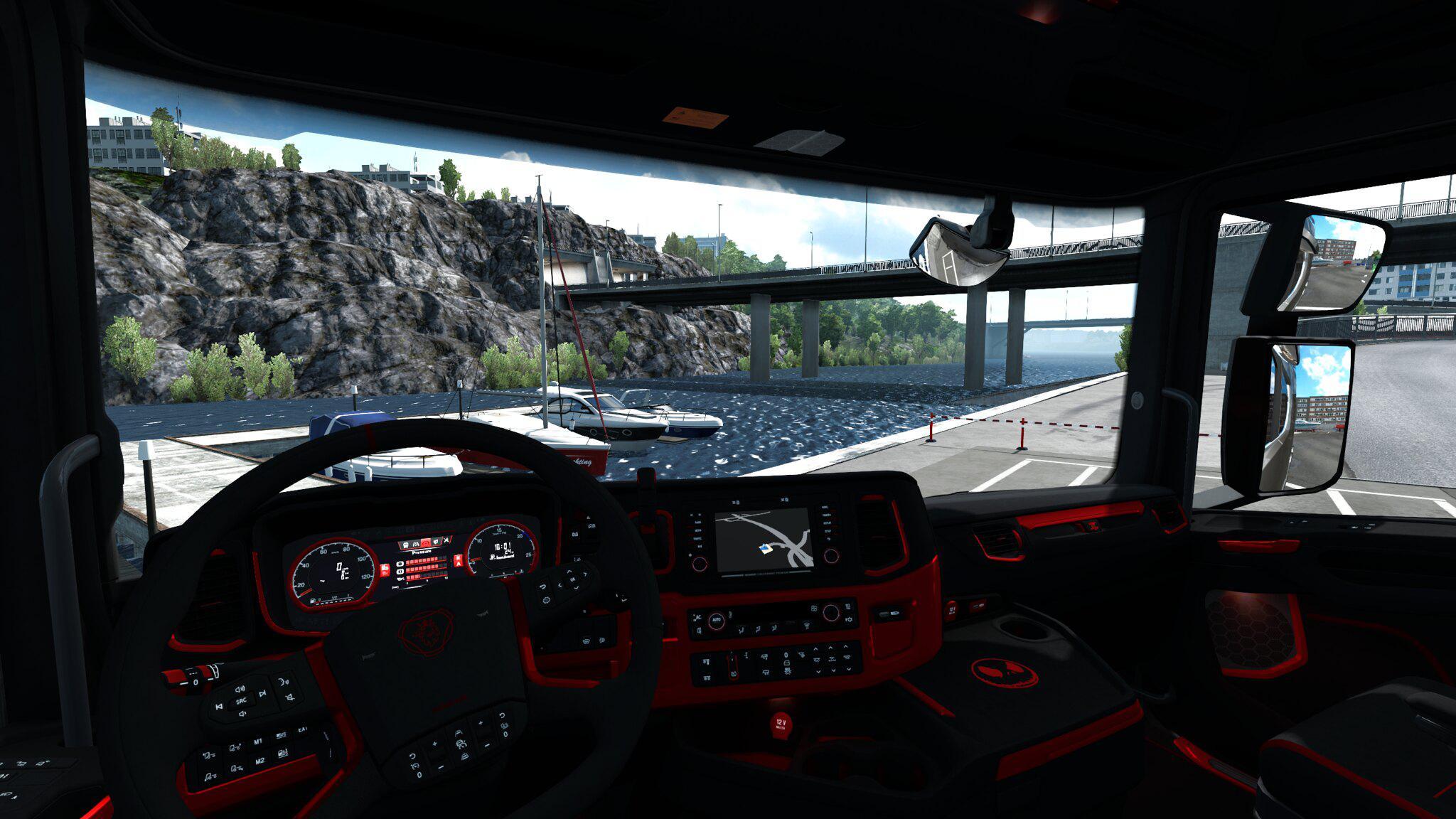 ETS2 - Scania S&R CMI Black & Red Interior V1.0 (1.36.X)