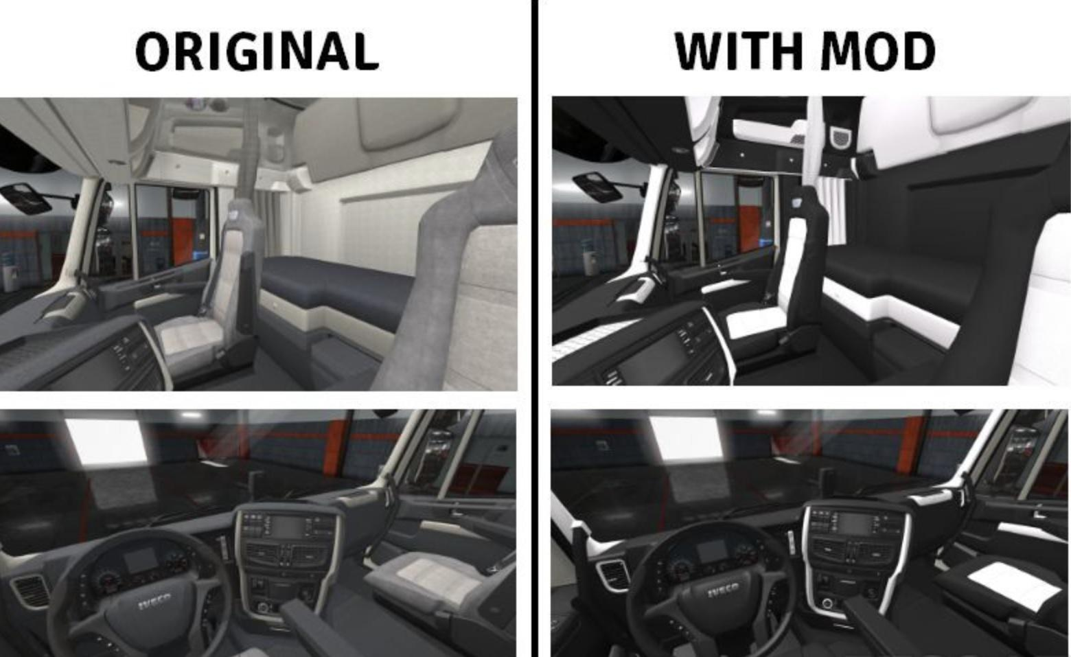 ETS2 - Iveco Hi-Way Luxury Black - White Interior (1.36.x)