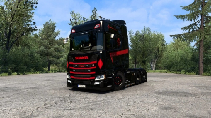 ETS2 - Scania R Black and Red Skin V1.0 (1.39.x)