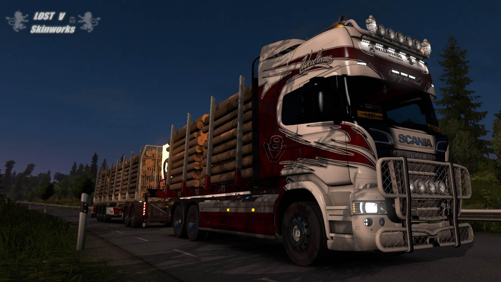 ETS2 - Scania R Woodtrans AB Combo Skin V1.1 (1.36.x)