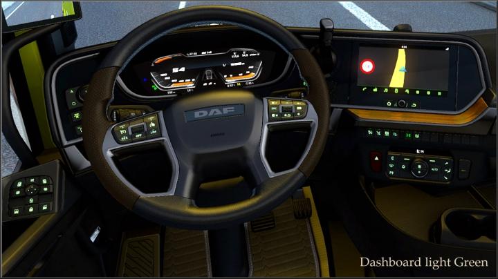 ETS2 - Dashboard Light Green for Daf 2021 XG V0.8 (1.40.x)