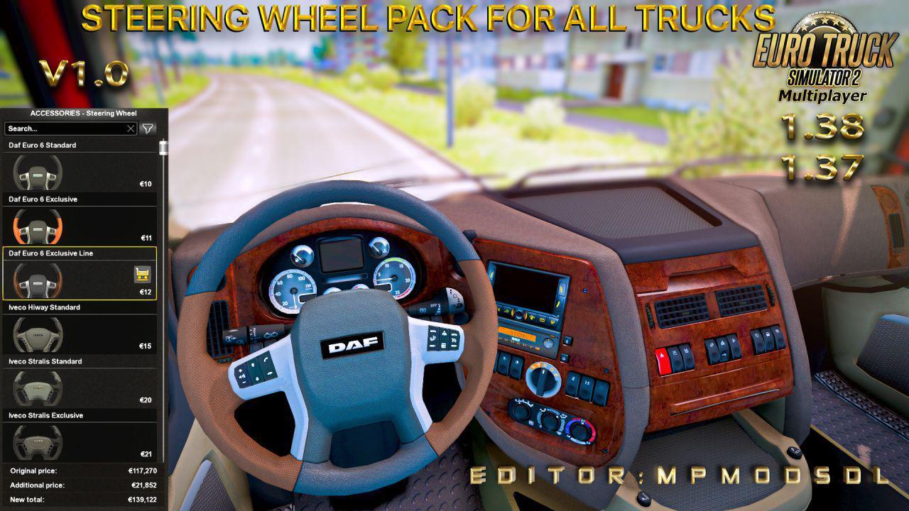 ETS2 - Steering Wheel Pack for All Trucks for Multiplayer (1.38.x)