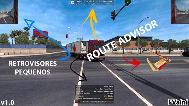 ETS2 - Route Advisor And Retrovisores V1.0 (1.40.x)