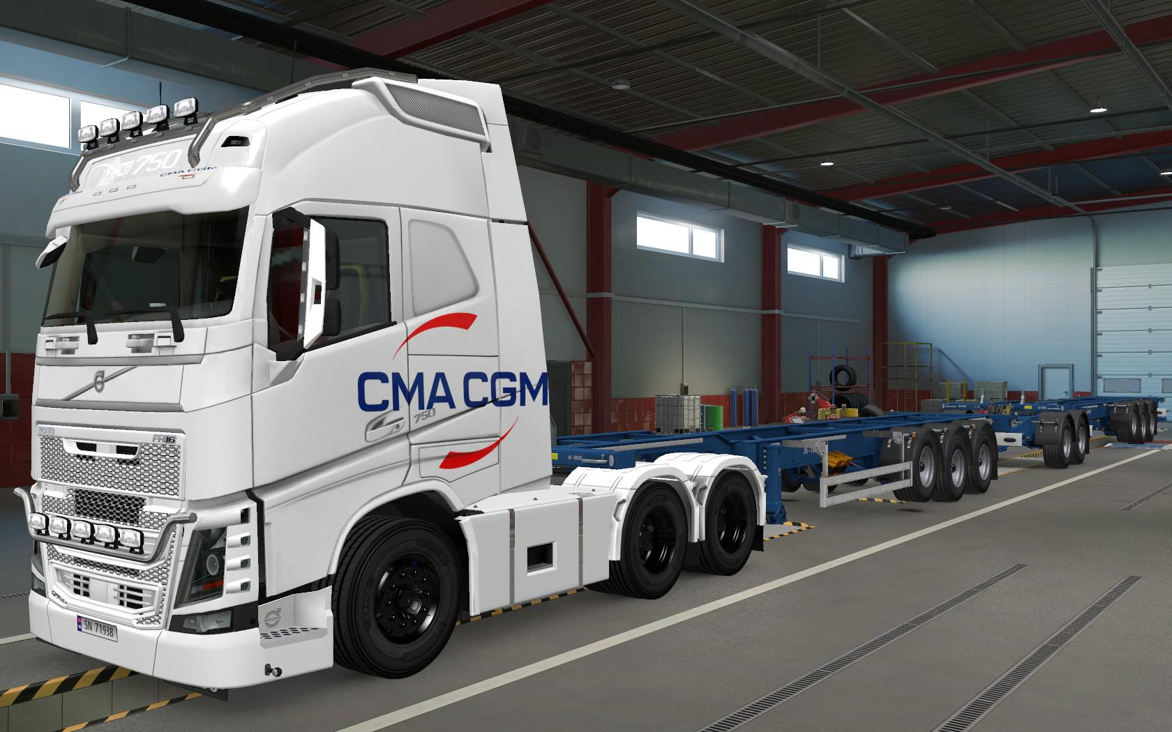ETS2 - Volvo FH16 2012 CMA CGM White Skin (1.37.x)