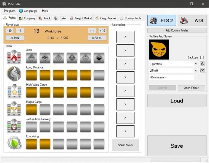 ETS2 - TS SaveEditor Tool V0.2.5.4 (1.40.x)