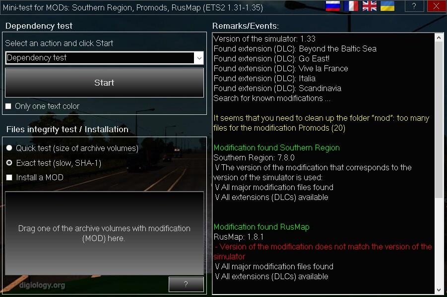 ETS2 - Mini-Test for Mods 20.01.14 (1.36.x)