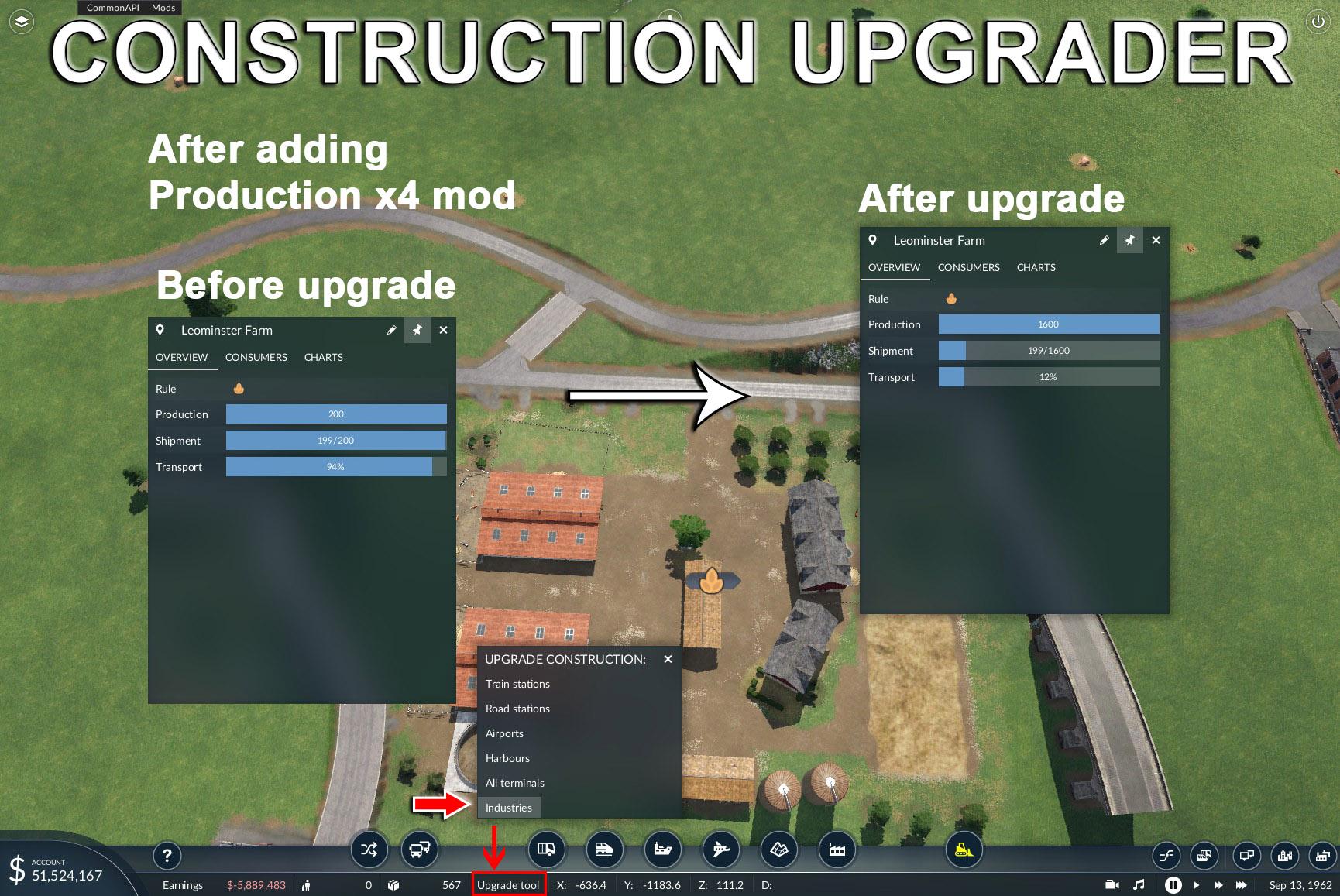 Transport Fever 2 - Bulk Upgrader for Stations/Industries