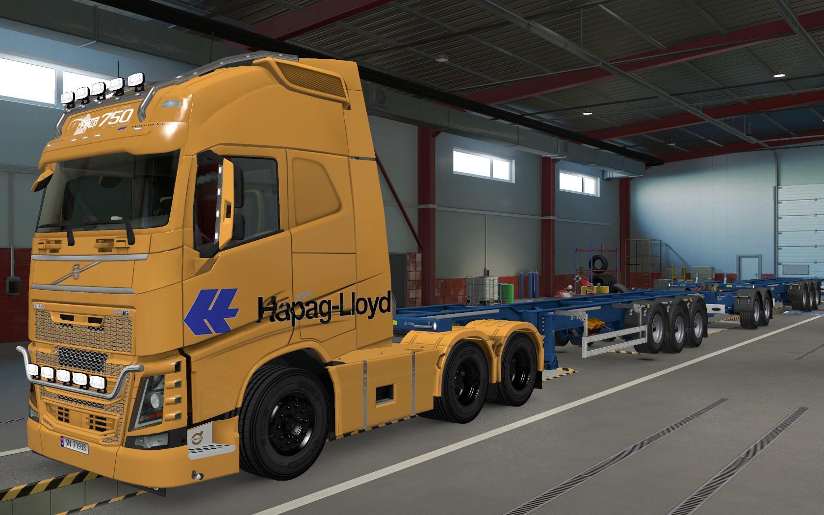ETS2 - Volvo FH16 2012 Hapag LLoyd Orange Skin (1.37.x)