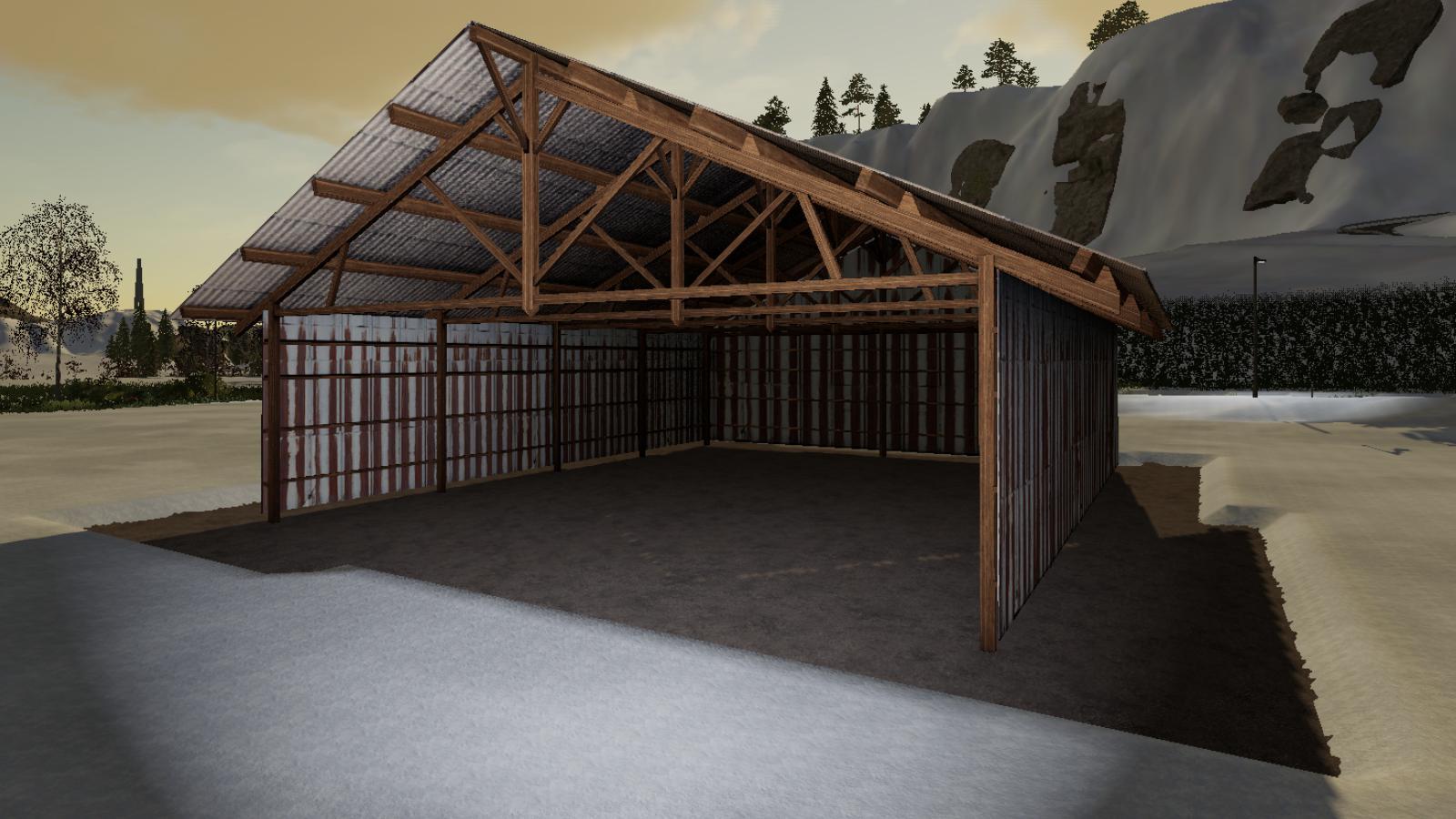 FS19 - Placeable Hangar Bois Metal V1.0