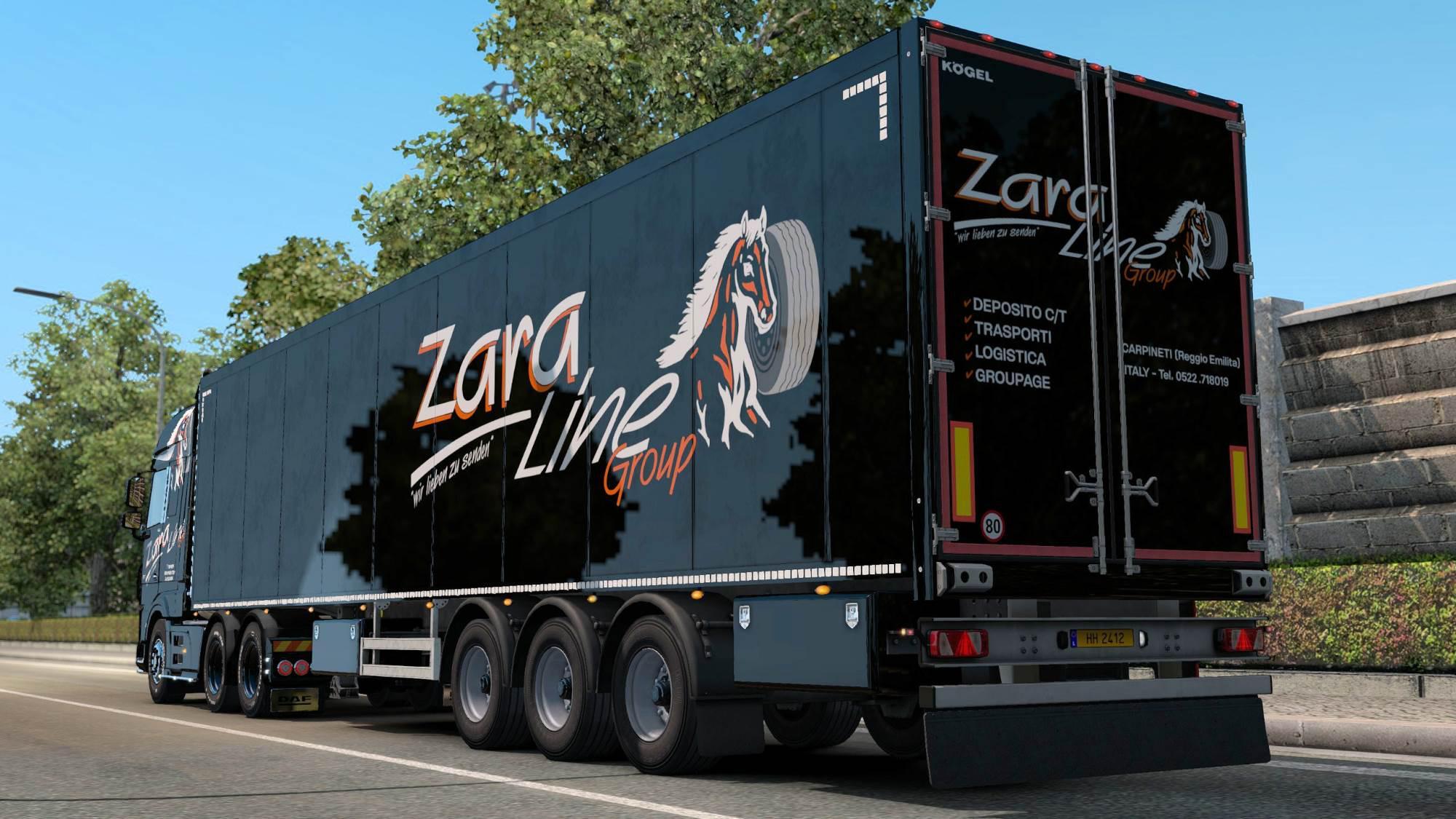 ETS2 - Zara Line Truck & Trailer Skin V1.0 (1.36.x)