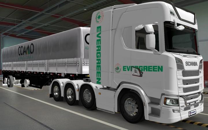 ETS2 - Scania S 2016 8x4 Evergreen White Skin (1.40.x)