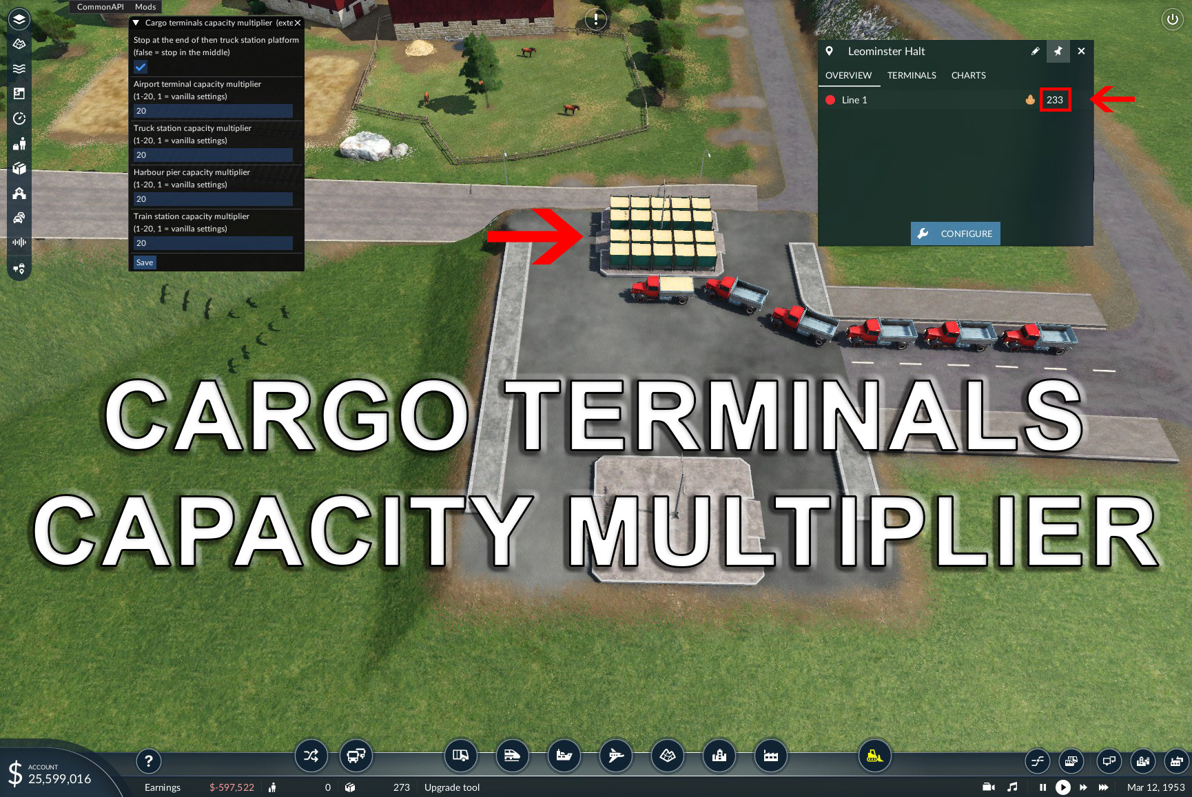 Transport Fever 2 - Cargo Terminals Capacity Multiplier