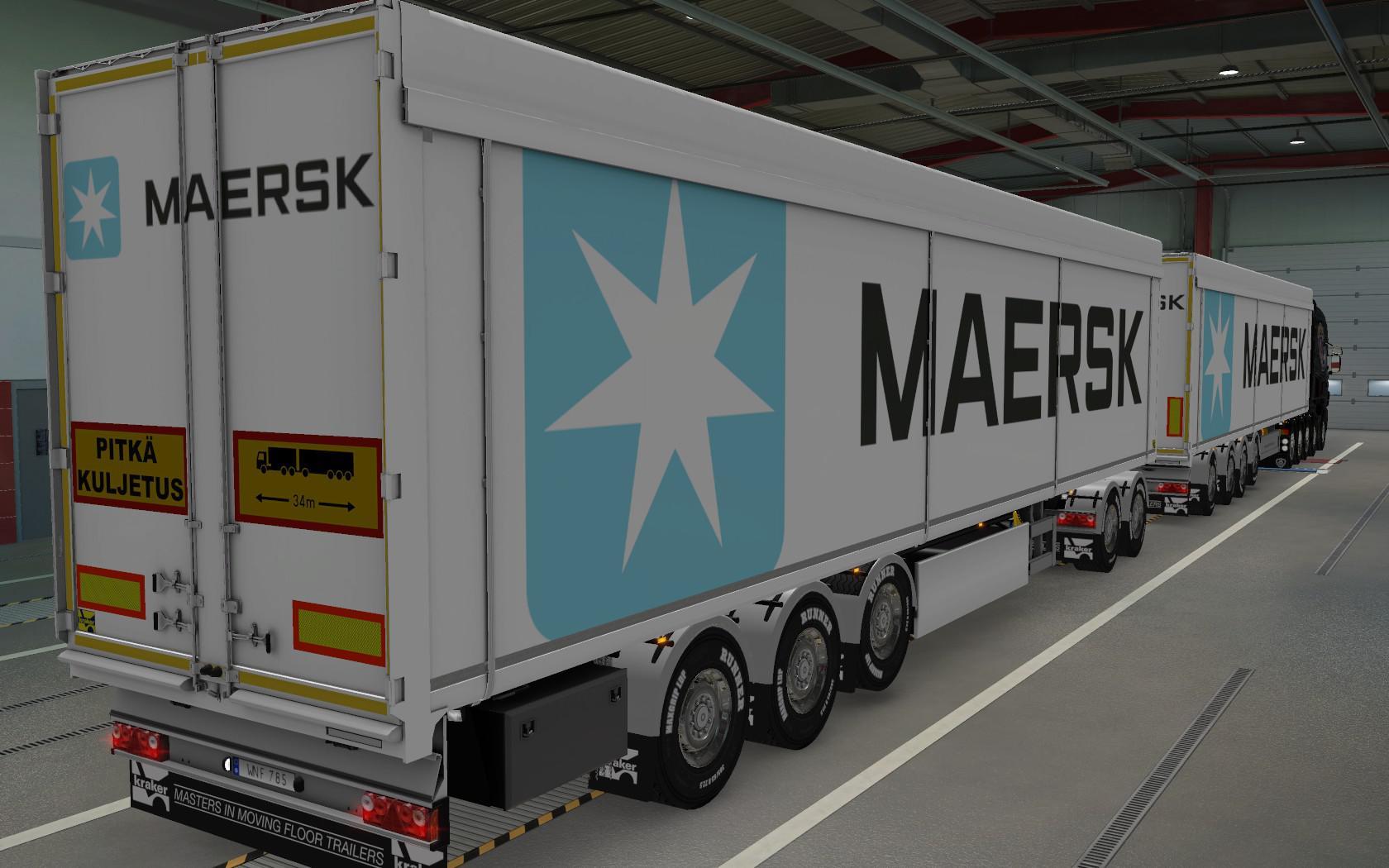 ETS2 - Kraker Walkingfloor Maersk White Skin (1.39.x)
