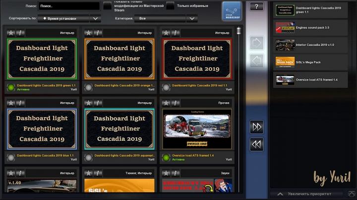 ETS2 - Dashboard Light Freightliner Cascadia 2019 Pack V1.1 (1.40.x)
