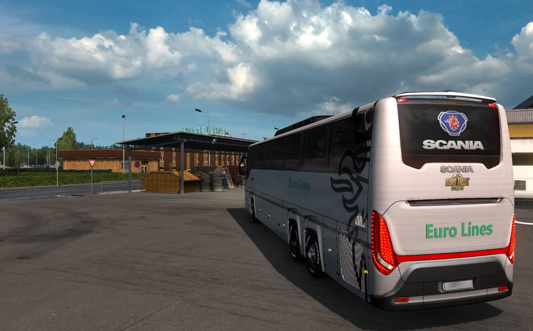 ETS2 - Scania Touring Realistic 4K Skin Euro Lines Bus (1.38.x)