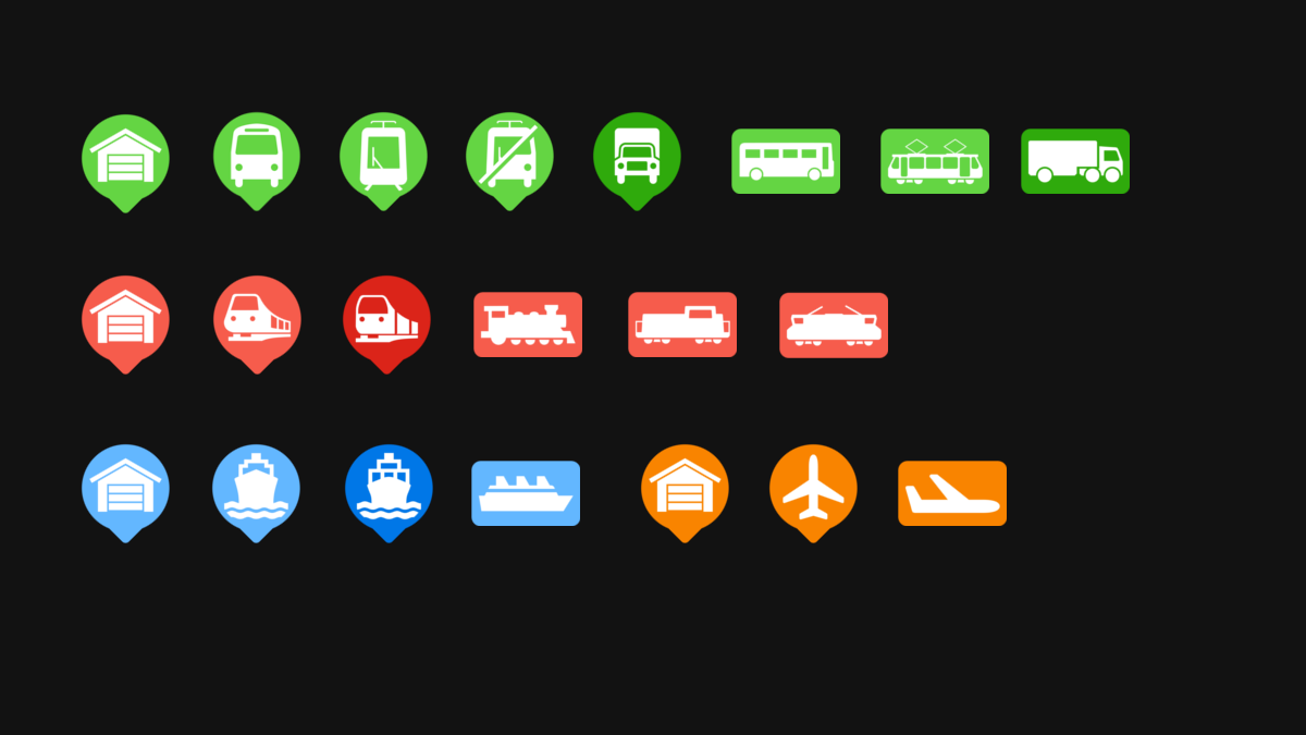 Transport Fever 2 - Icons Flat Design – Stations and Vehicles
