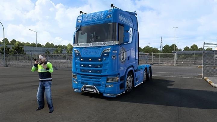 ETS2 - Scania S Hertha BSC Paintjob V1.0 (1.41.x)