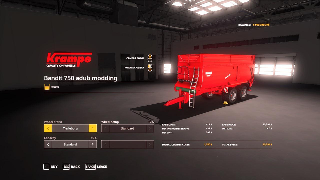 FS19 - Krampe Bandit 750 Trailer V3.0