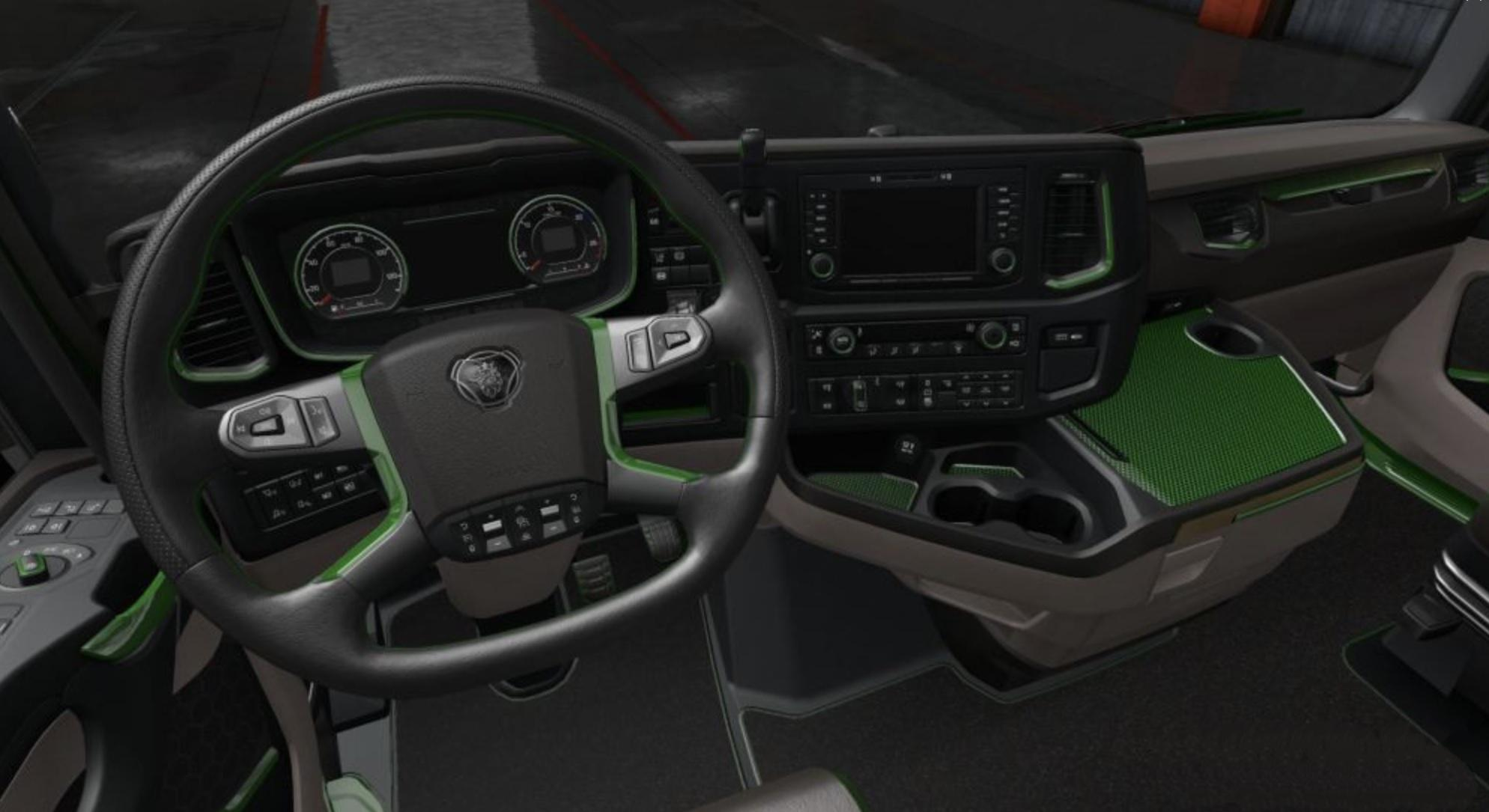 ETS2 - Scania 2016 S & R Black - Green Interior (1.36.x)