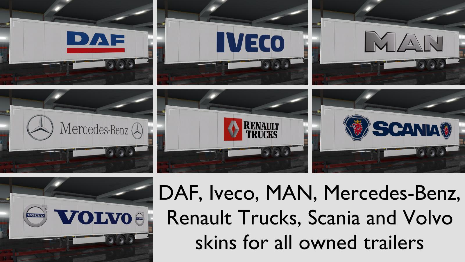 ETS2 - Trucks Brands Skins For All Owned Trailers V1.0 (1.36.x)